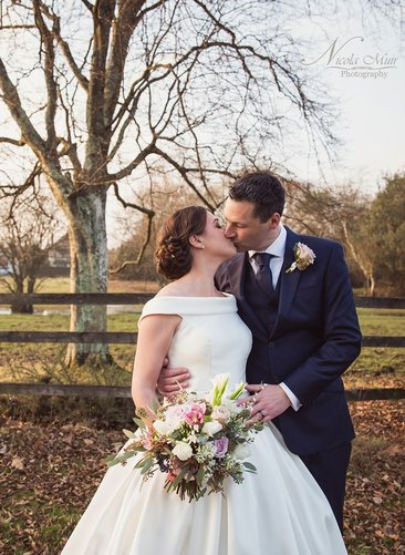 Bride and Groom Wedding Nicola Muir Photograph Froyle Park Blossom Dome Garden